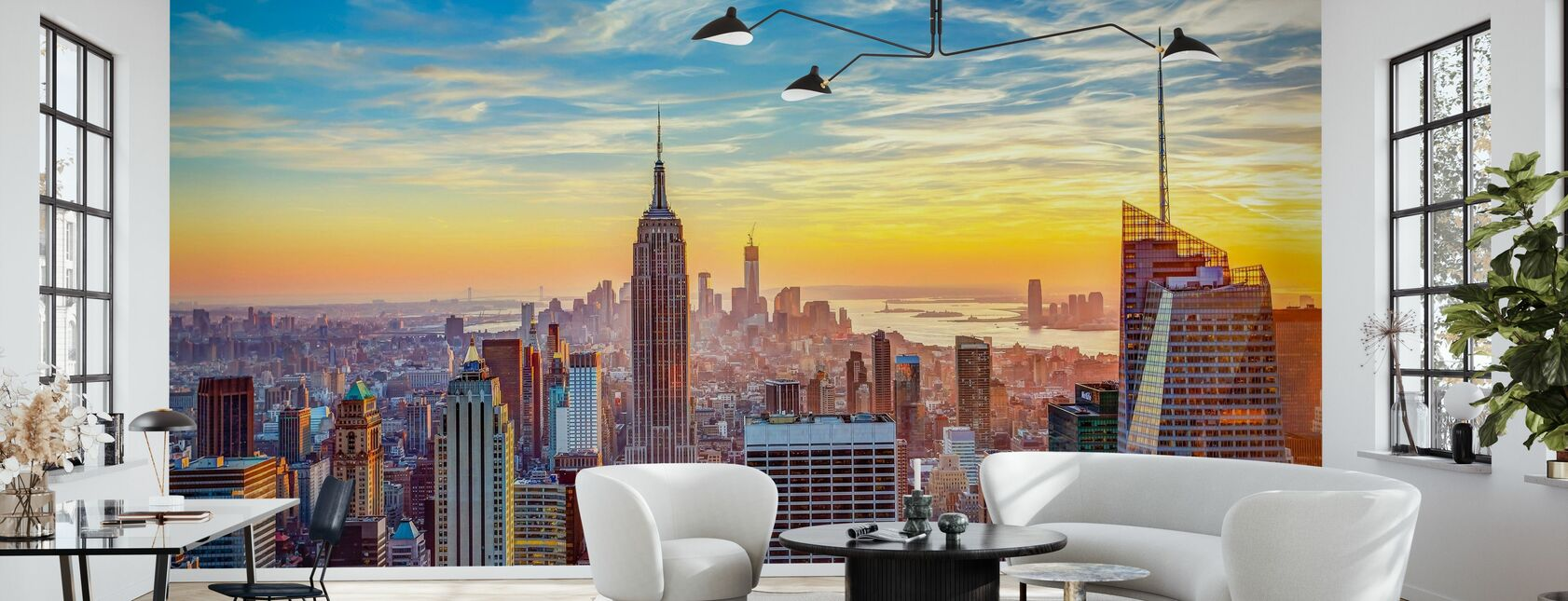 Aerial View of City - Wallpaper - Living Room