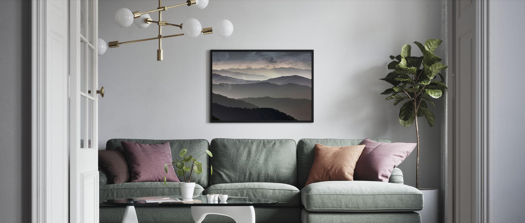 Mountains at Dusk - Framed print - Living Room
