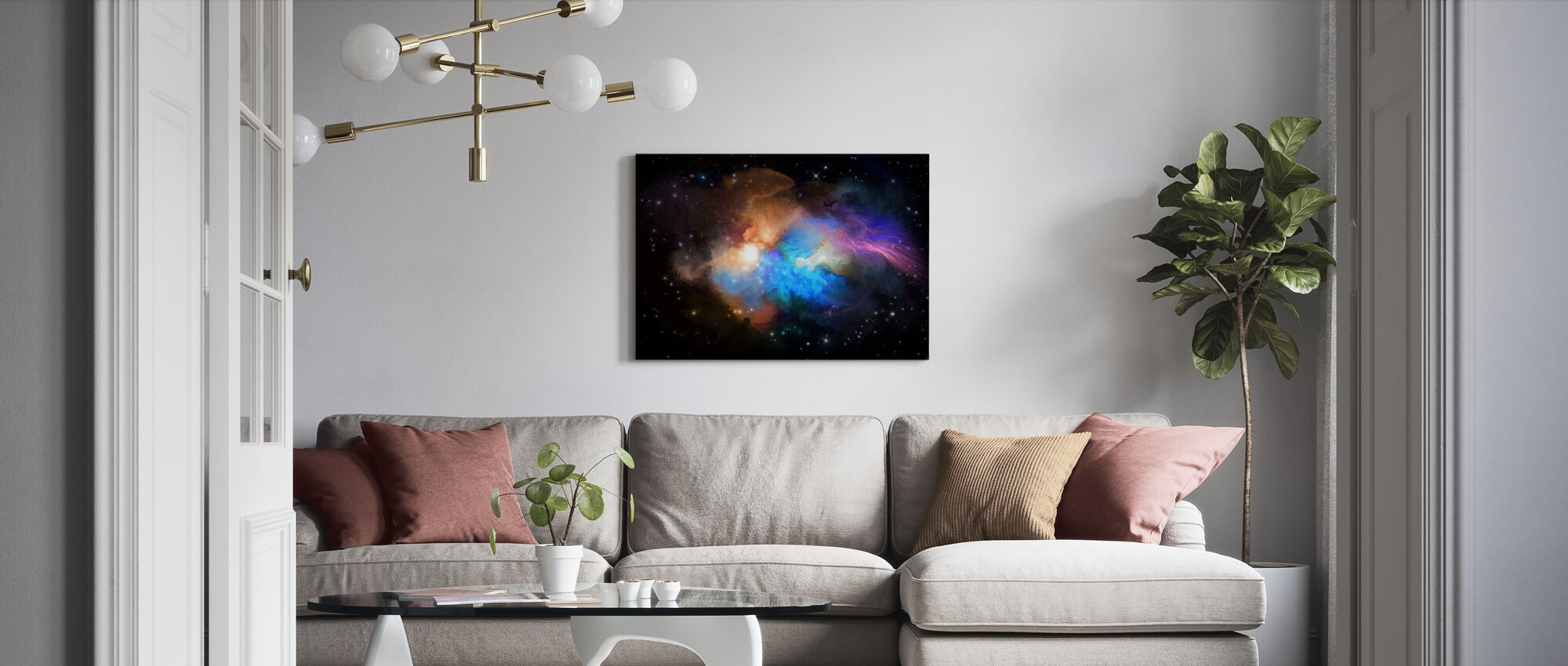Multicolored Nebula - Canvas print - Living Room