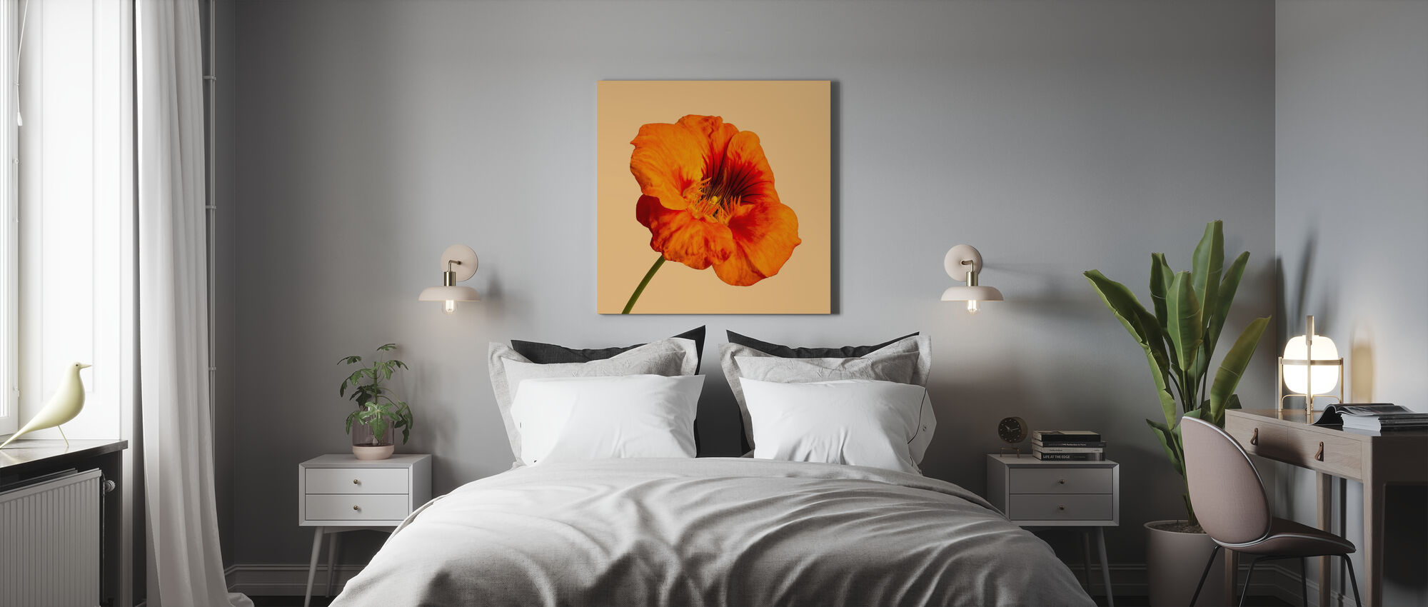 Blomstrende Hibiscus - Lerretsbilde - Soverom