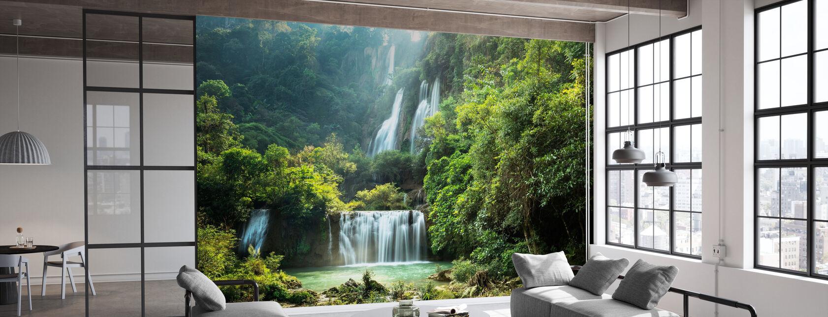 Wodospad w lecie - Tapeta - Biuro