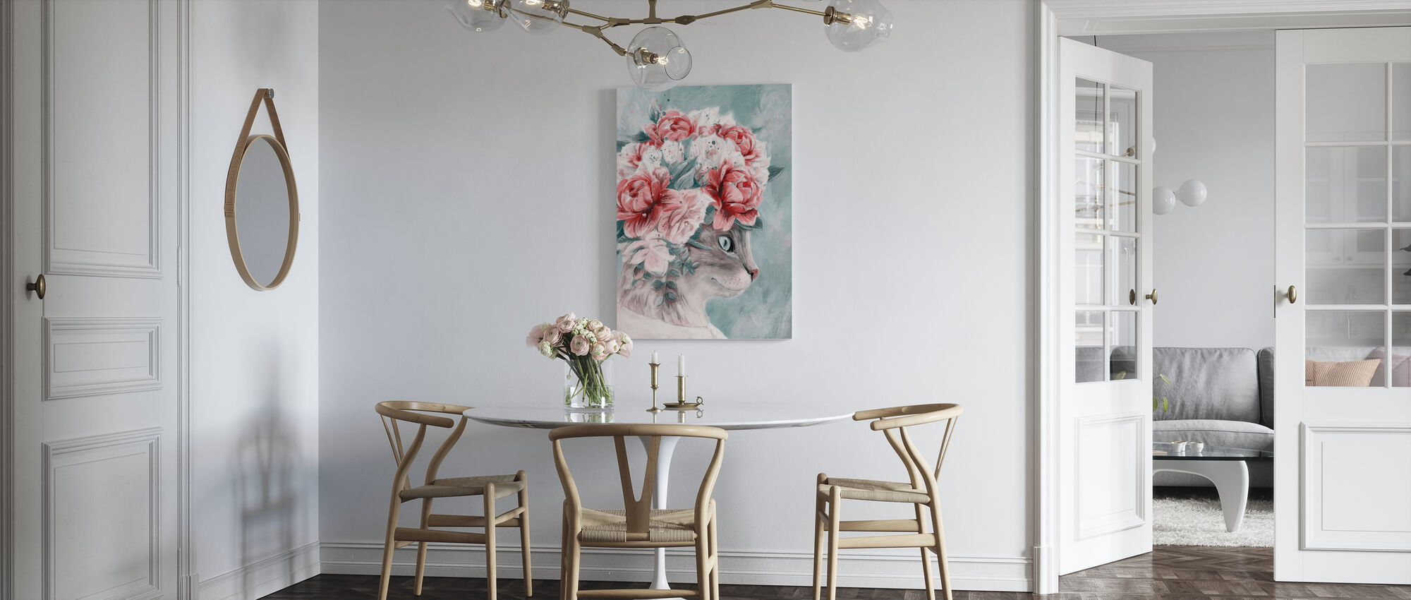 Bouquet Cat - Canvas print - Kitchen