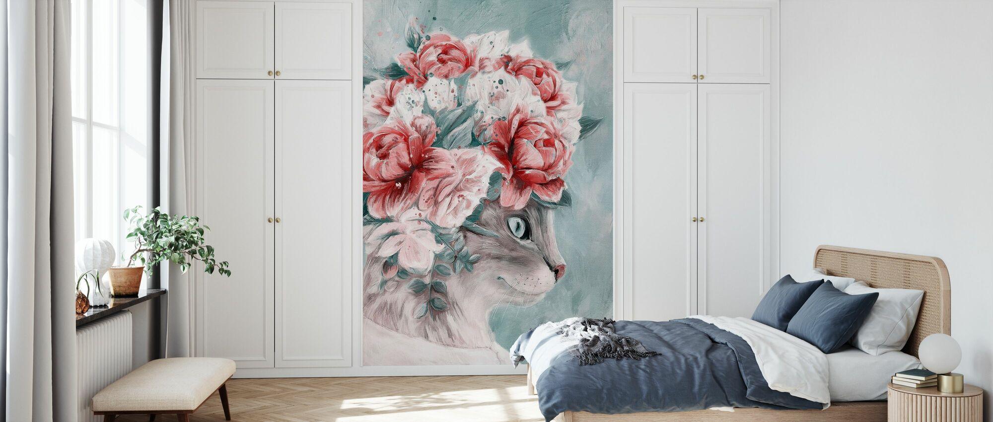 Bouquet Cat - Wallpaper - Bedroom