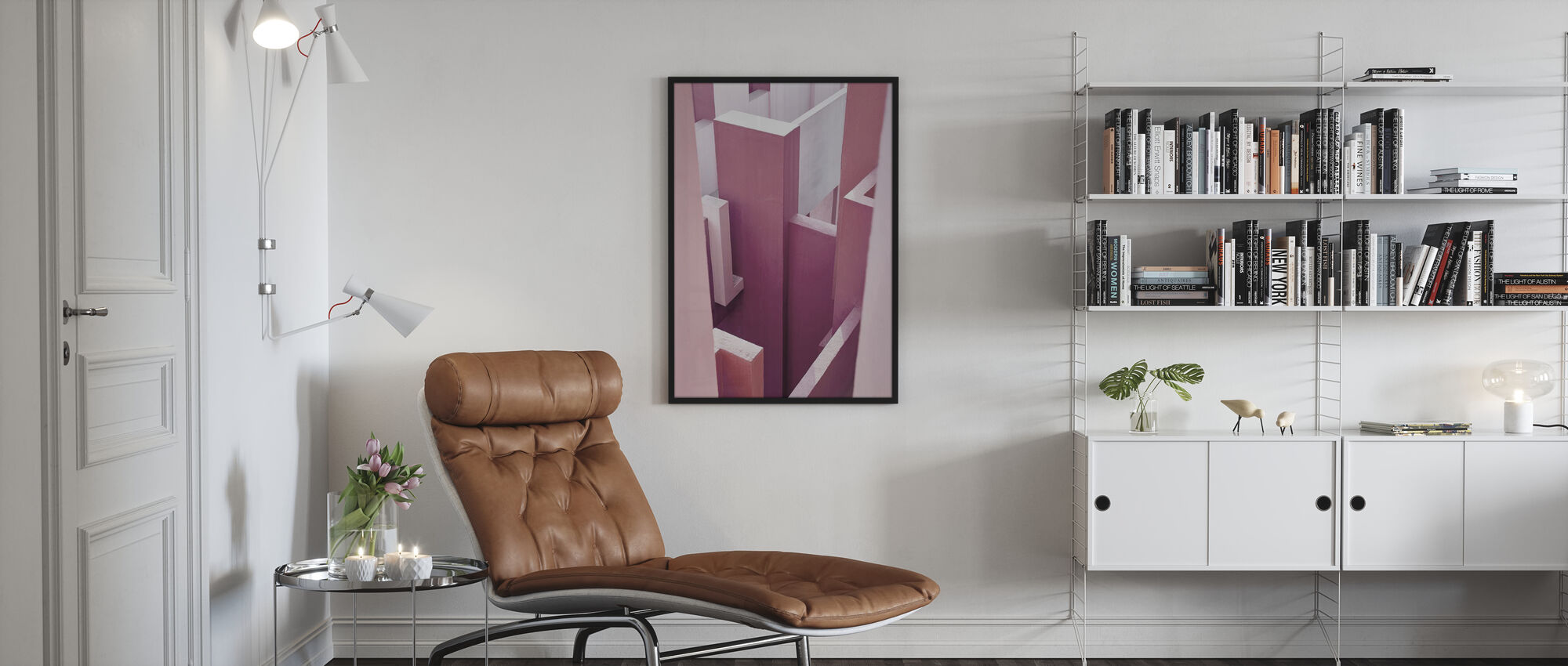 Punainen seinä - Kehystetty kuva - Olohuone