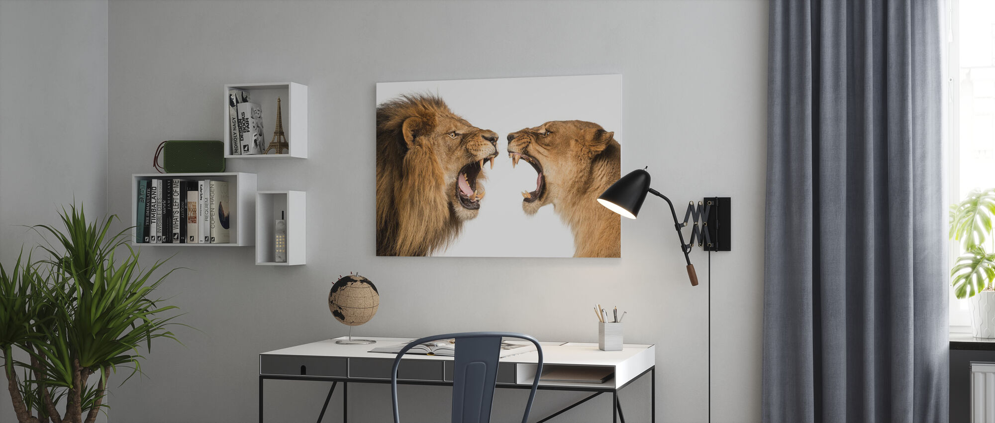 Roaring Lion and Lioness - Canvas print - Office