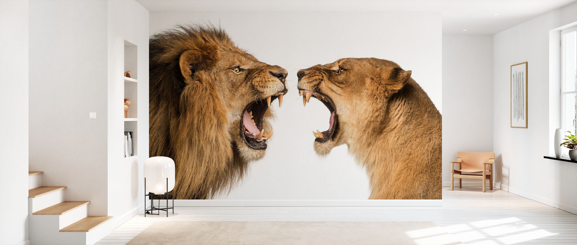 Roaring Lion and Lioness - Wallpaper - Hallway