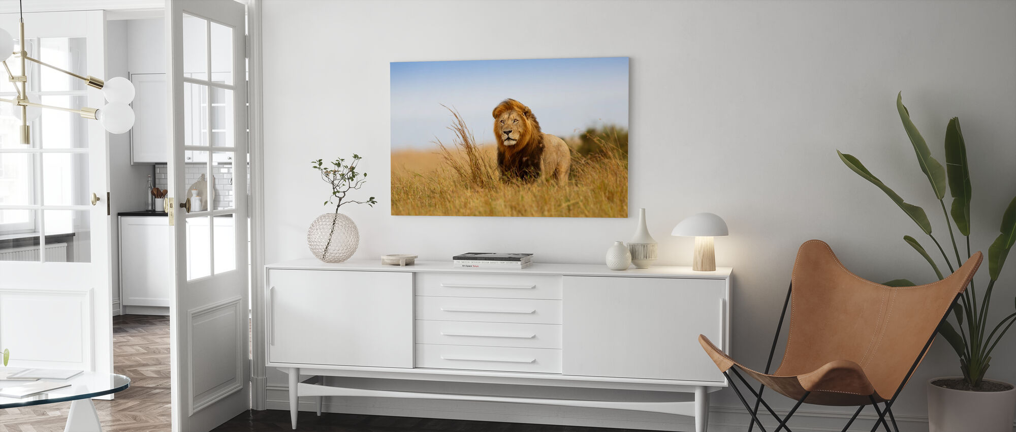 Lejon i det gyllene gräset - Canvastavla - Vardagsrum