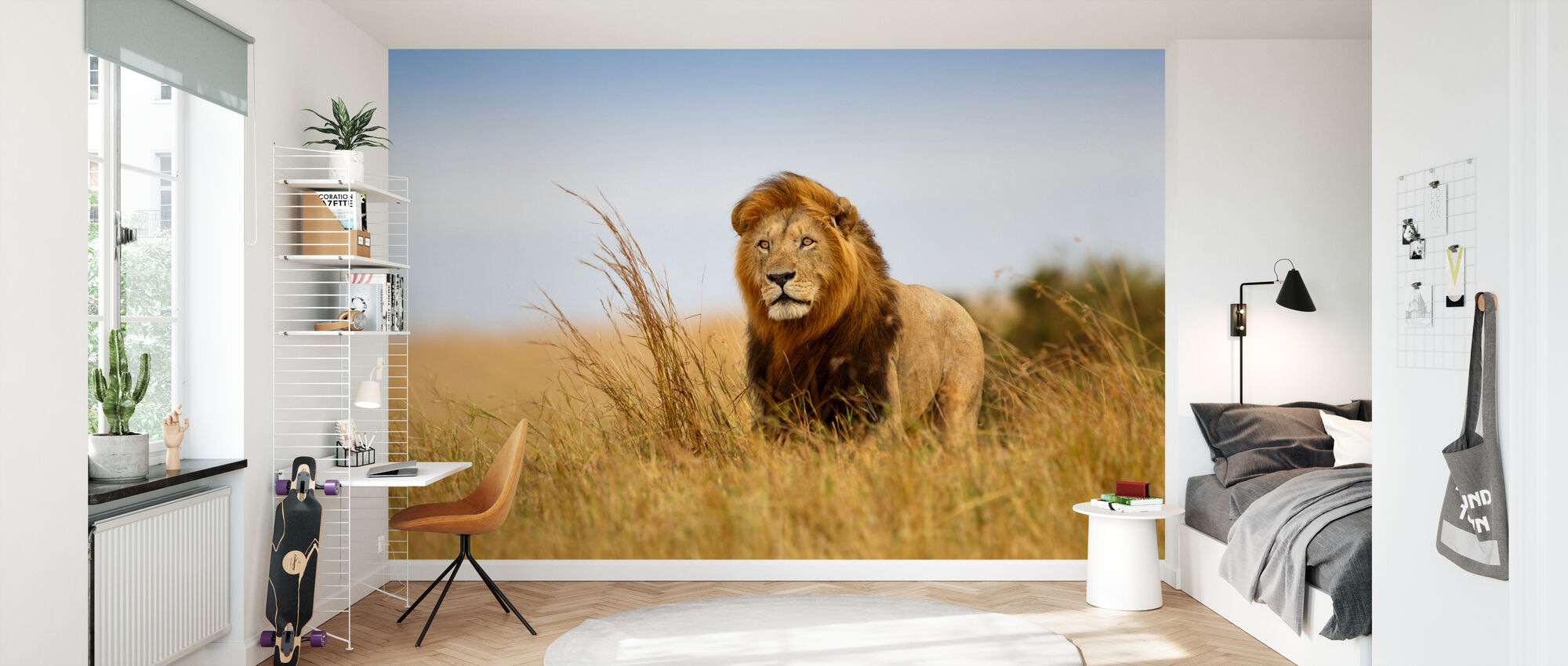 Løve i det gylne gresset - Tapet - Barnerom