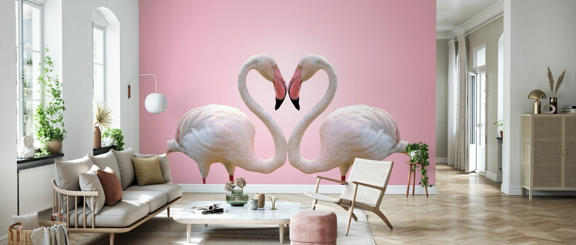 Couple Flamingo - Wallpaper - Living Room