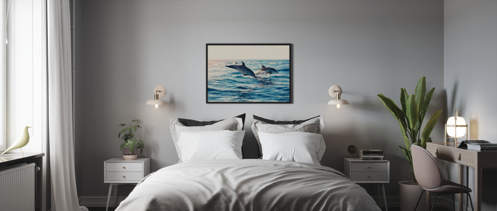 Dolphins Jumping from the Sea - Framed print - Bedroom