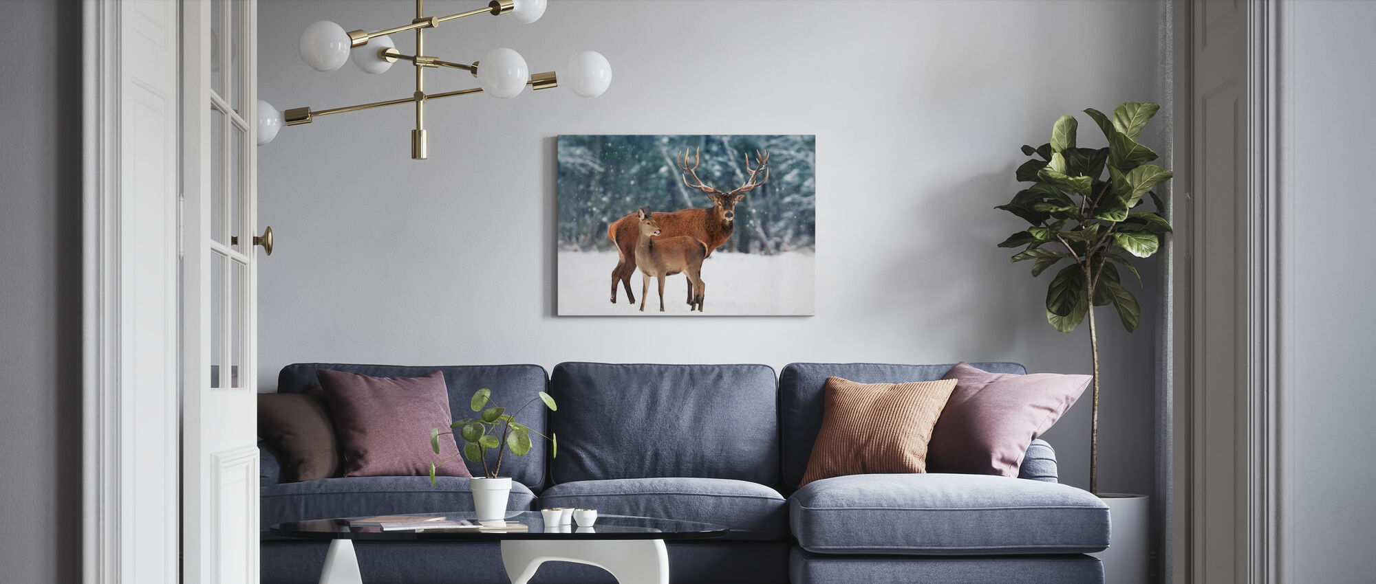 Deer in the Snow - Canvas print - Living Room