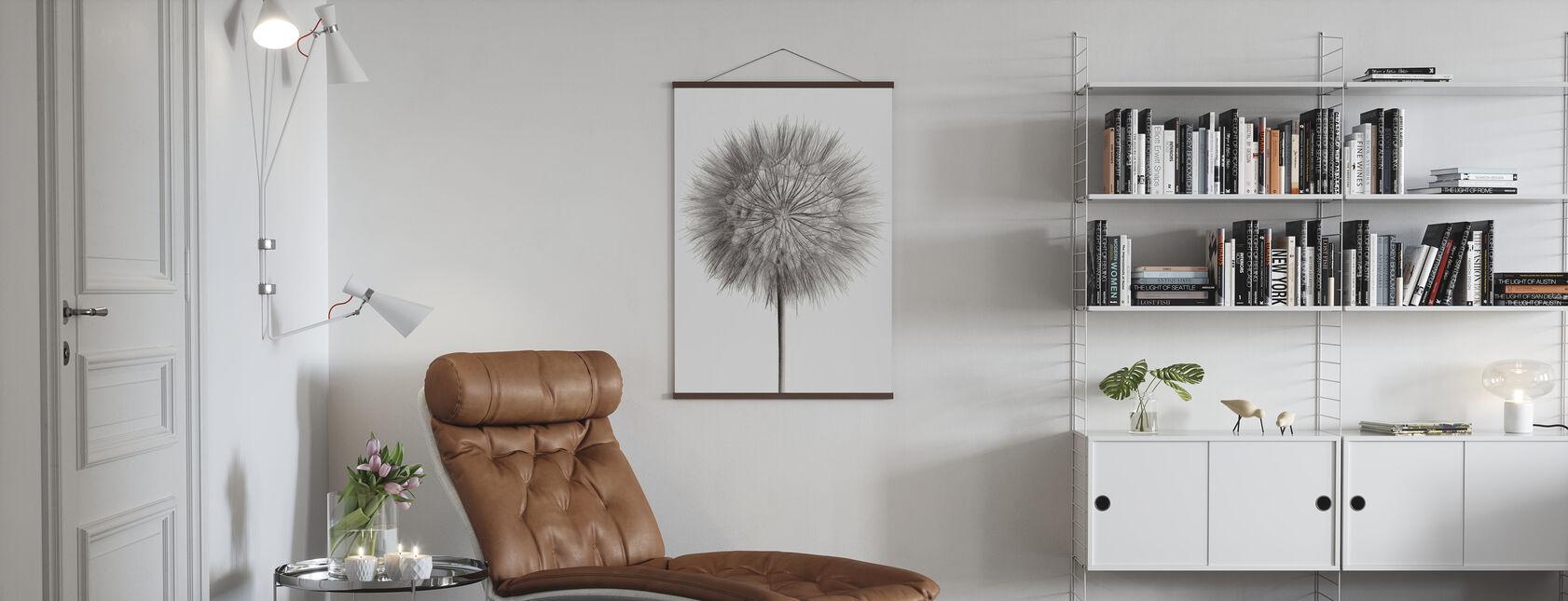 Dandelion Fluff on White - Poster - Living Room