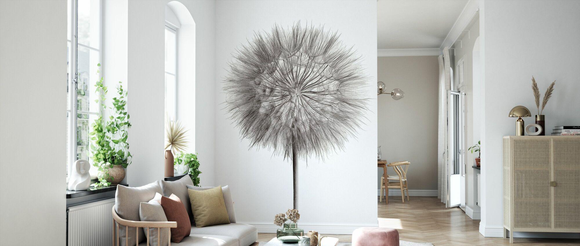 Dandelion Fluff on White - Wallpaper - Living Room