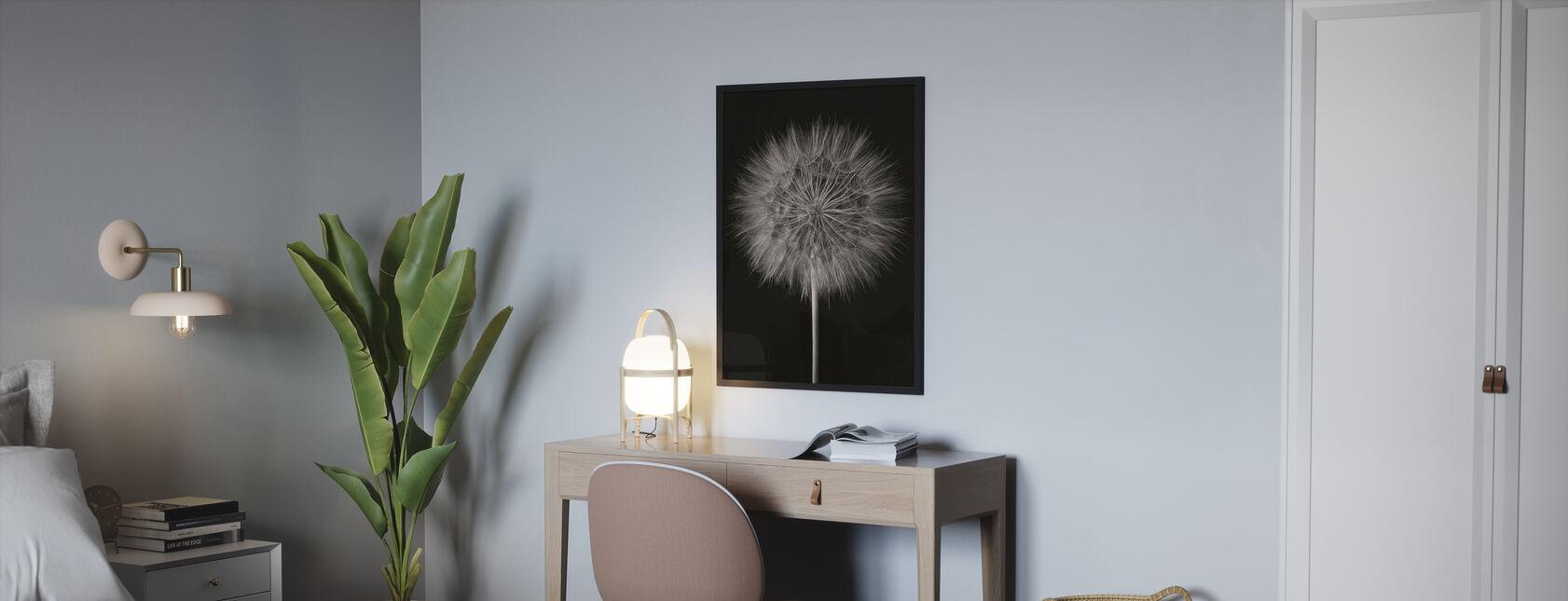 Paardebloem pluis op zwart - Ingelijste print - Slaapkamer