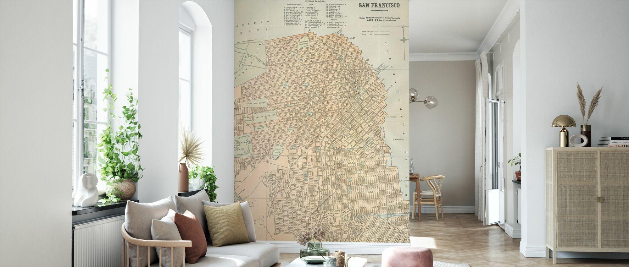 San Francisco Map - Wallpaper - Living Room