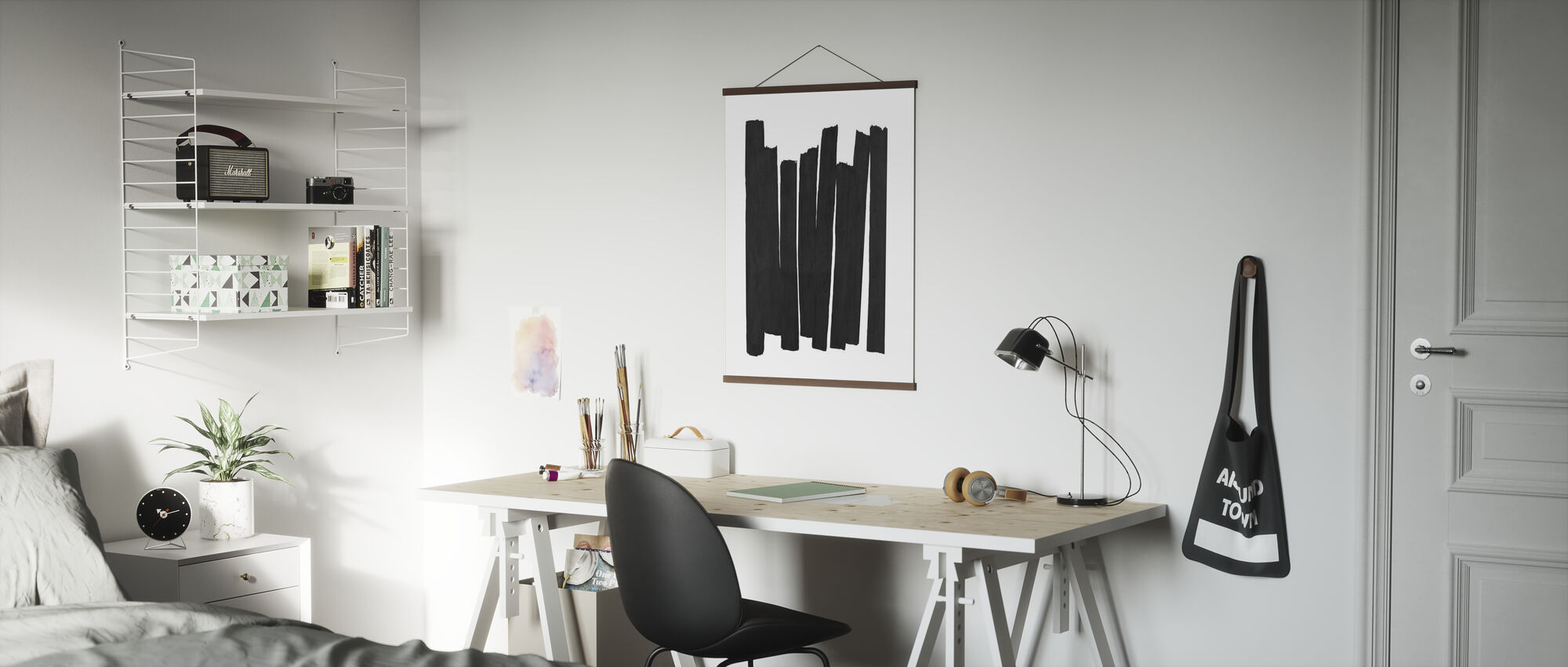 Zwarte penseelstreken II - Poster - Kantoor