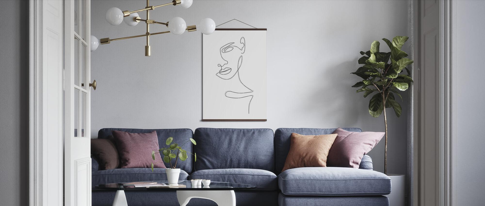 Skizzierte Porträt - Poster - Wohnzimmer