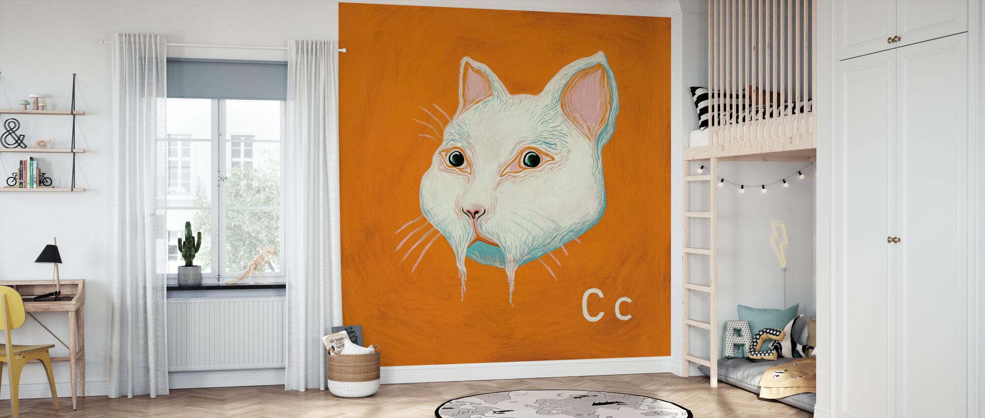 Katt med C - Tapet - Barnerom
