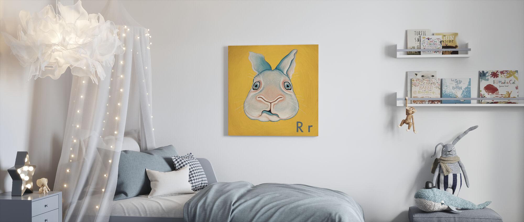 Rabbit with R - Canvas print - Kids Room