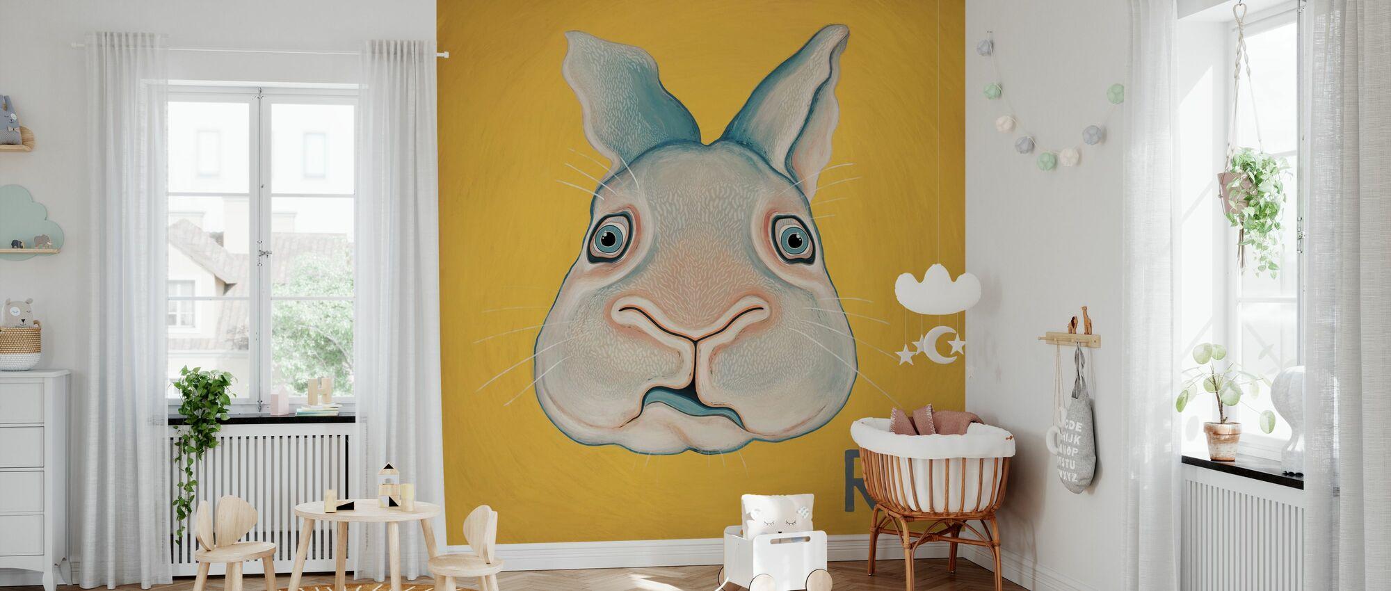 Rabbit with R - Wallpaper - Nursery