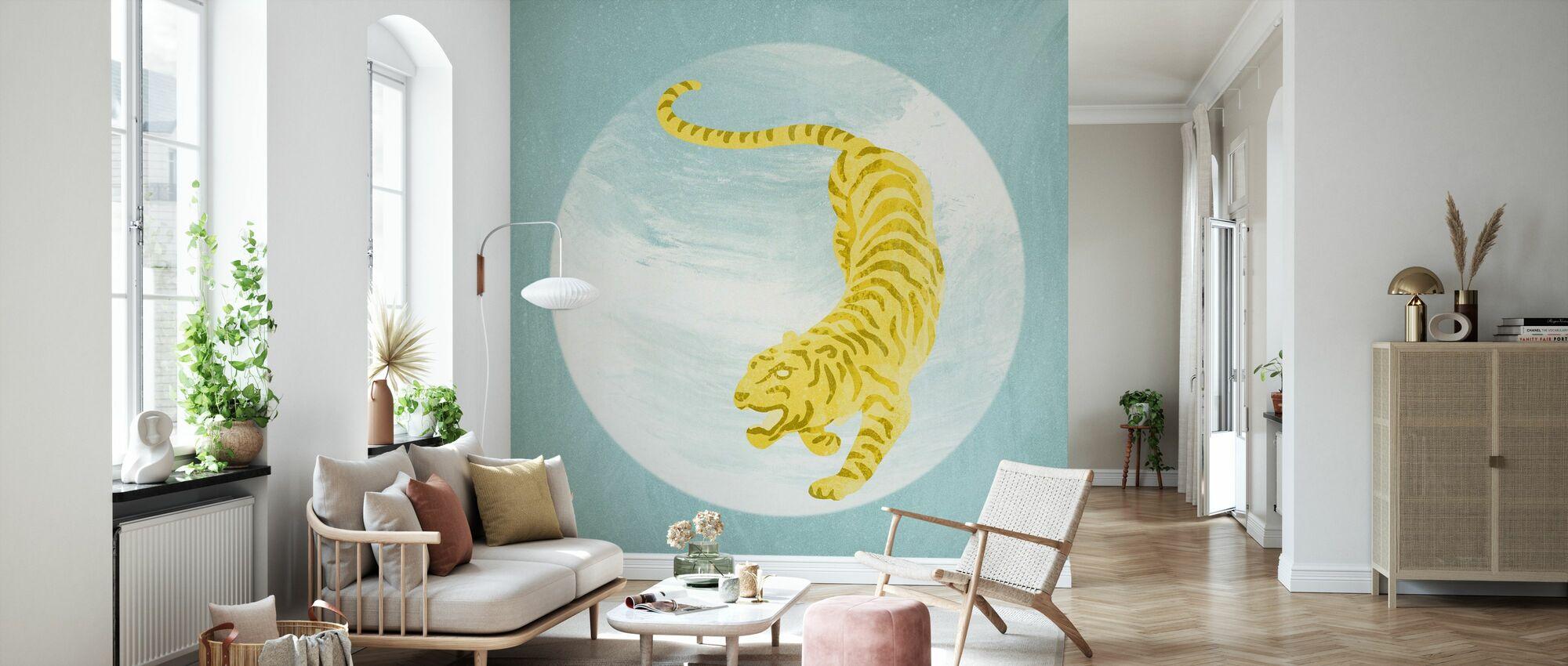 Tigerblau - Tapete - Wohnzimmer