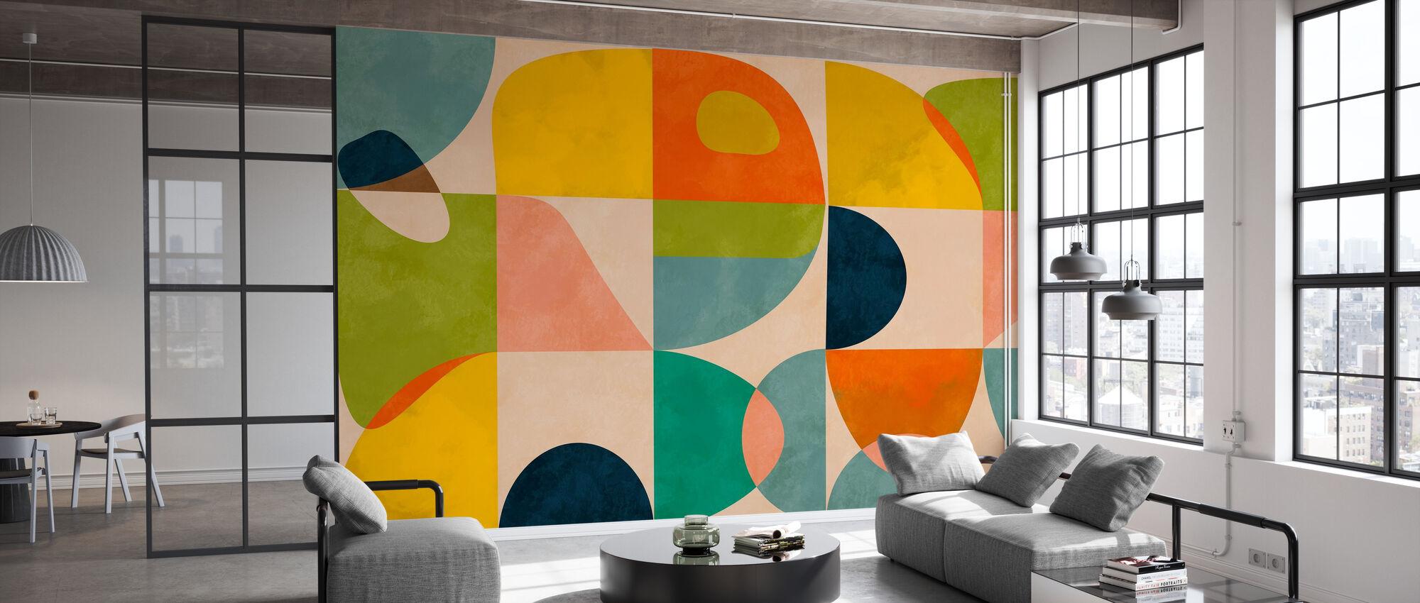 Circles Mid Century IIII - Wallpaper - Office