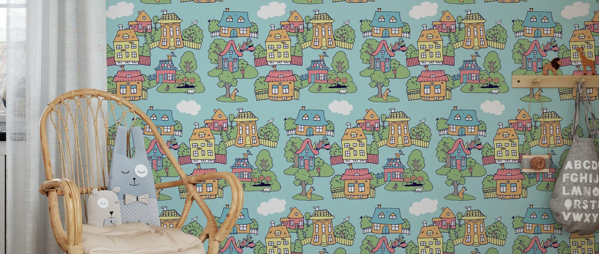 Little Town Bleu - Papier peint - Chambre des enfants