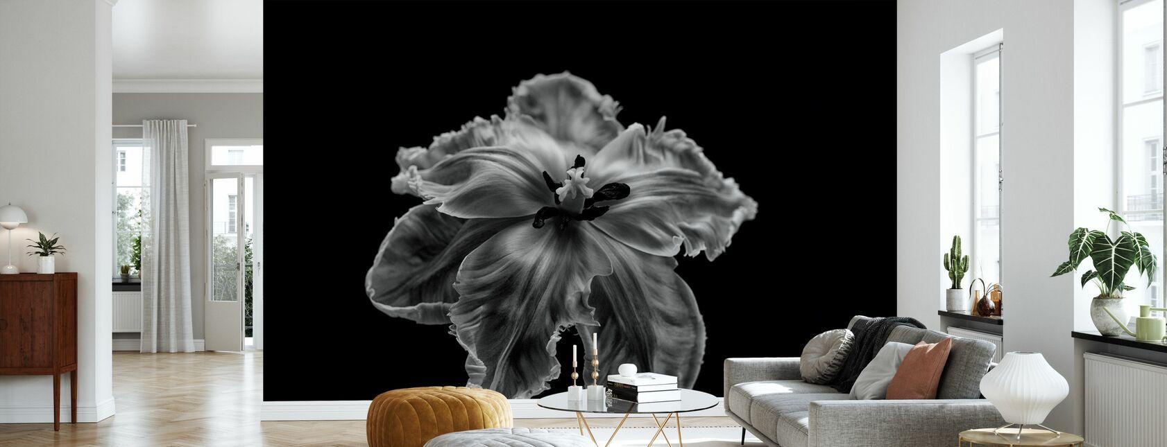Zwarte en witte papegaai Tulp - Behang - Woonkamer