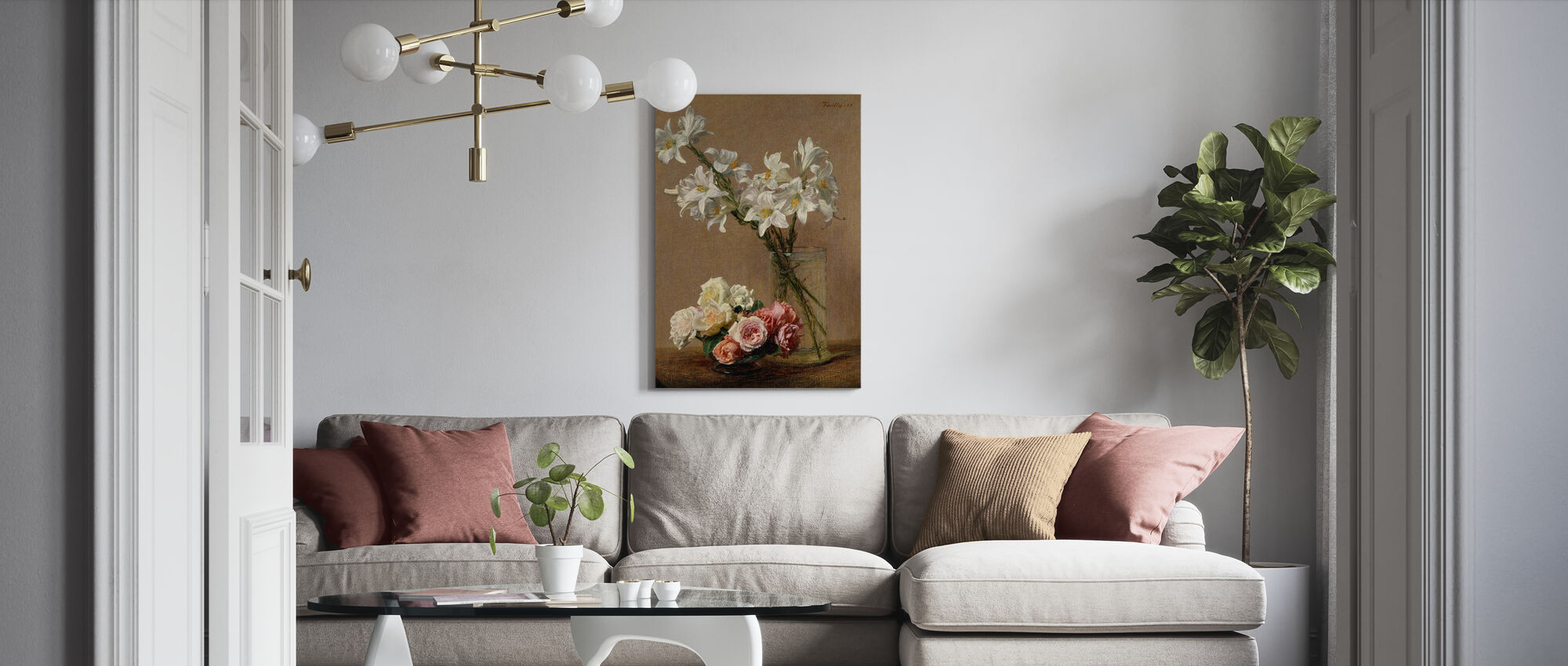 Roses and Lilies - Henri Fantin-Latour - Canvas print - Living Room