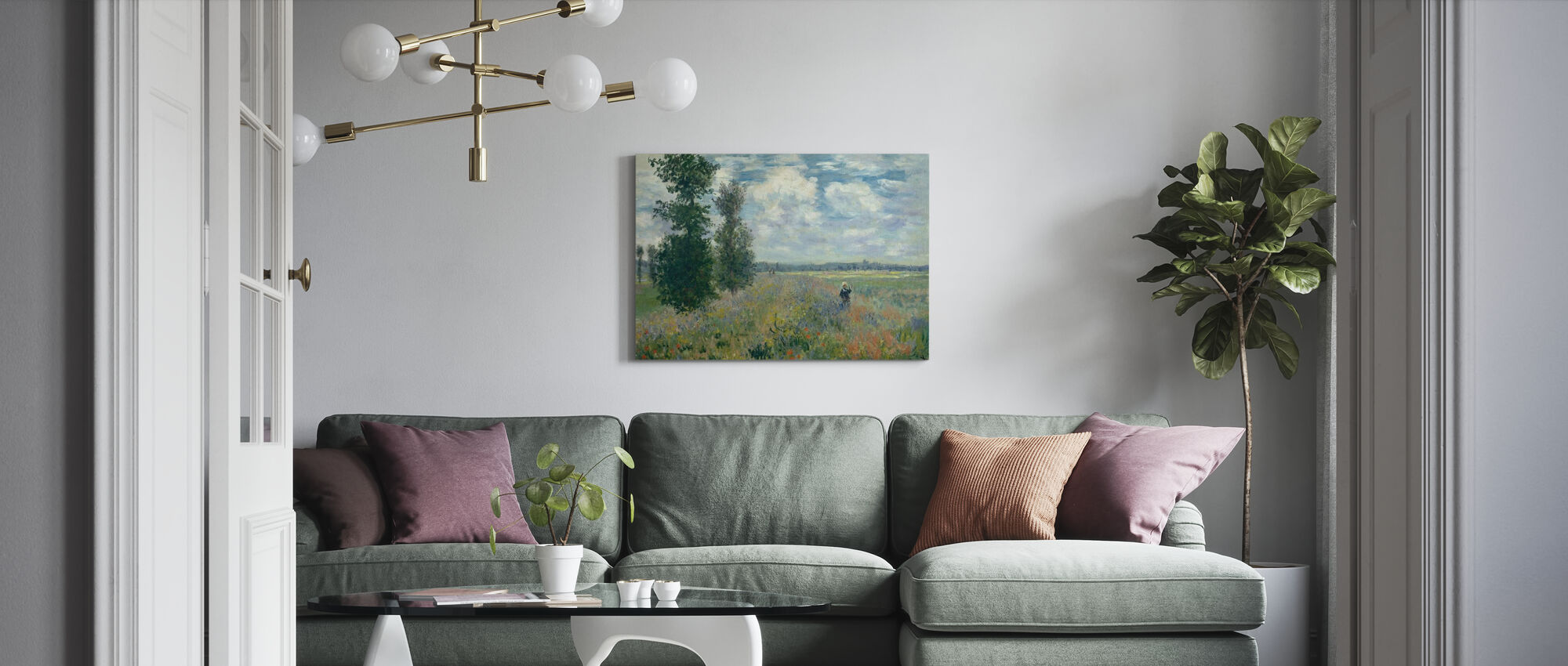 Papaver velden - Claude Monet - Canvas print - Woonkamer