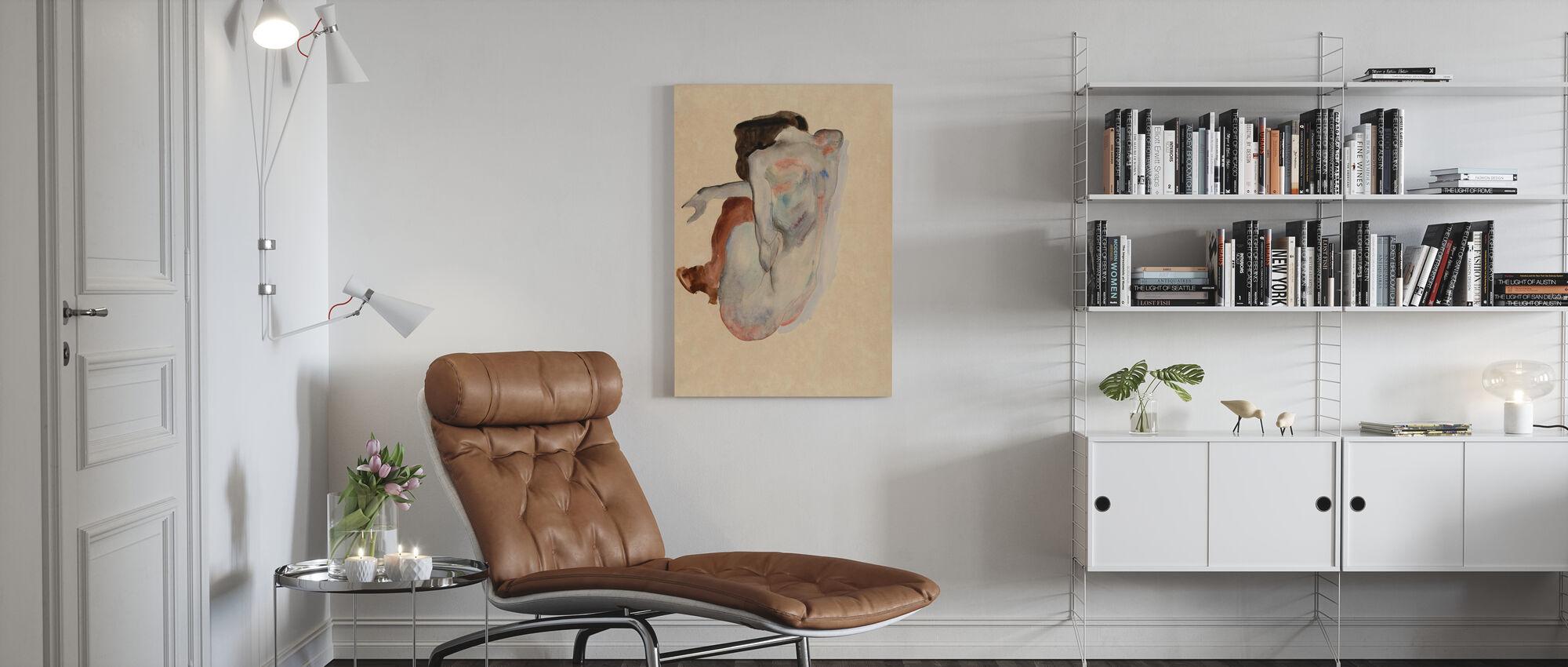 Crouching Nude - Egon Schiele - Canvas print - Living Room