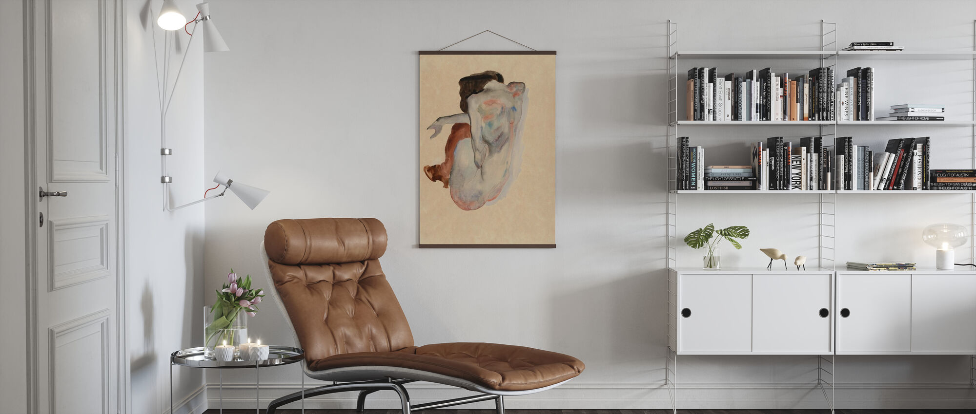 Crouching Nude - Egon Schiele - Poster - Living Room