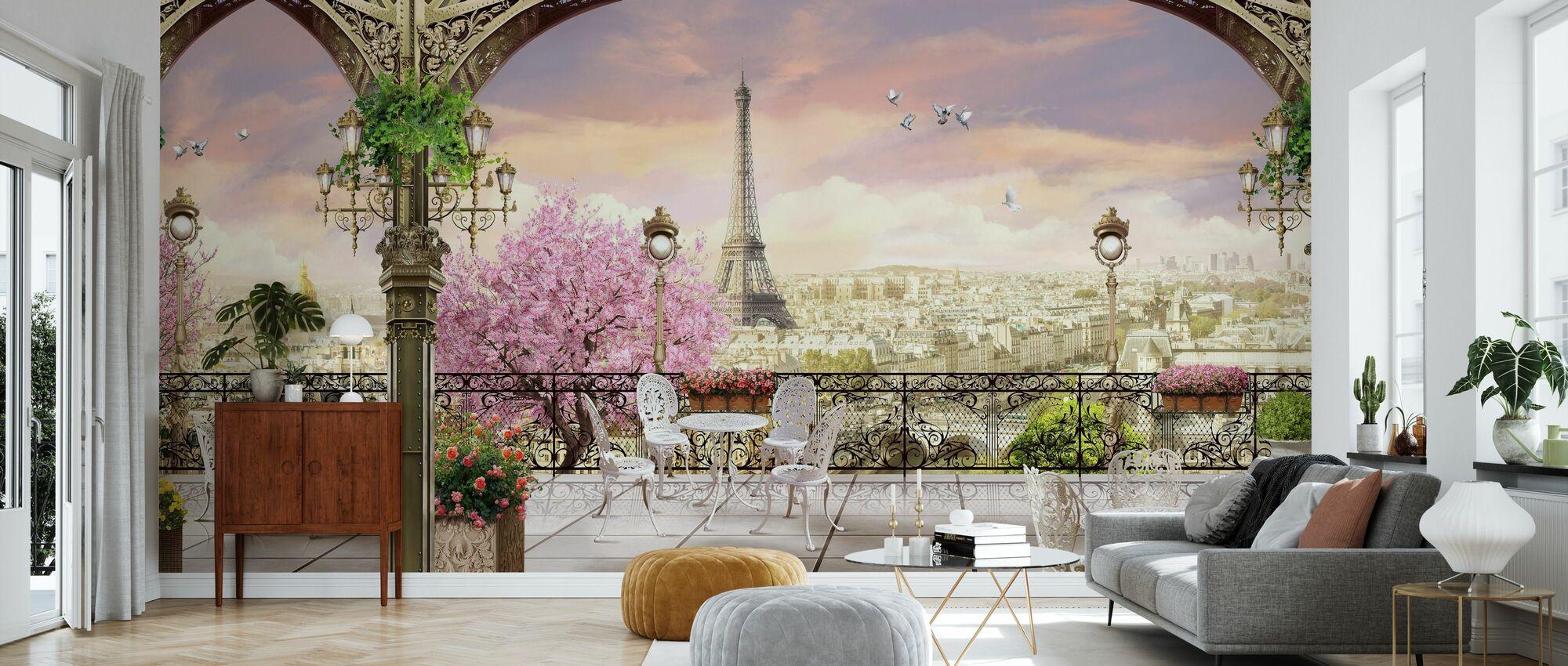 Paris Terrace - Wallpaper - Living Room