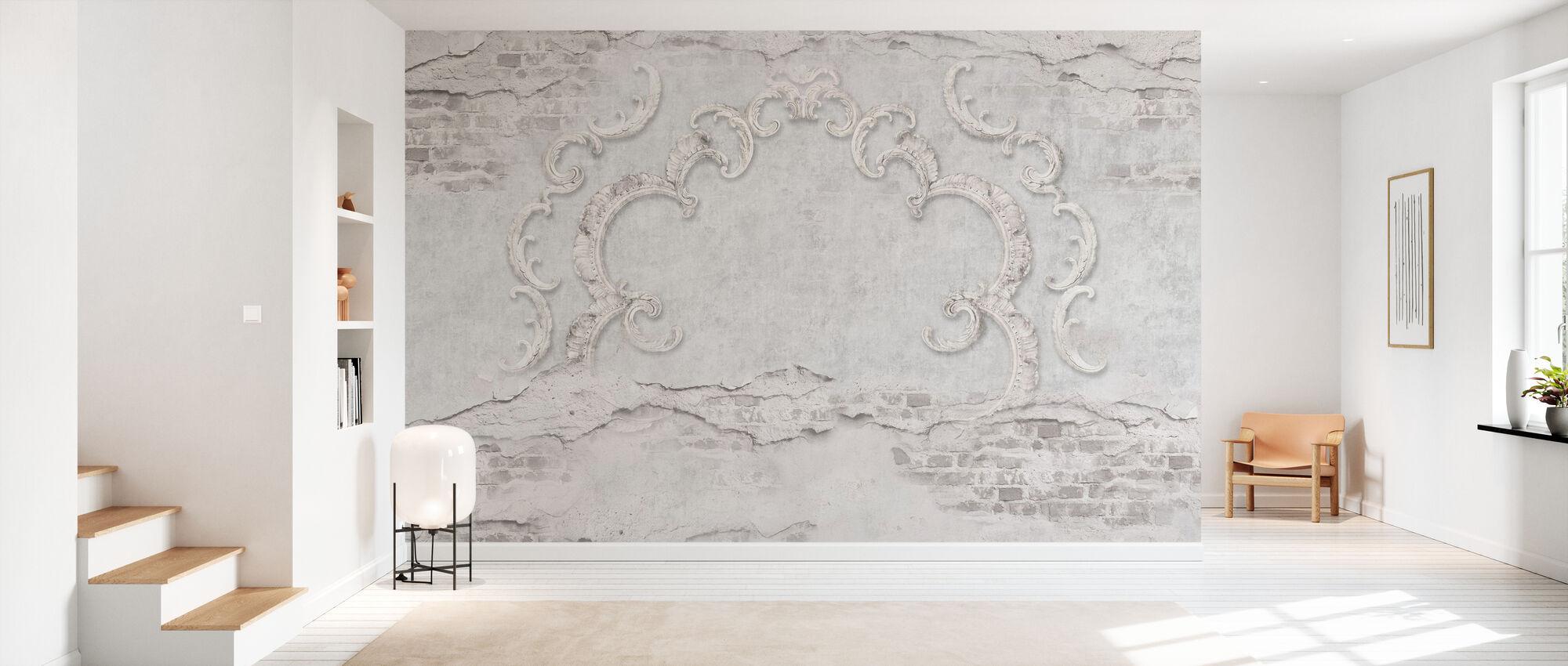 Gebarsten bakstenen muur met stucwerk - Behang - Gang