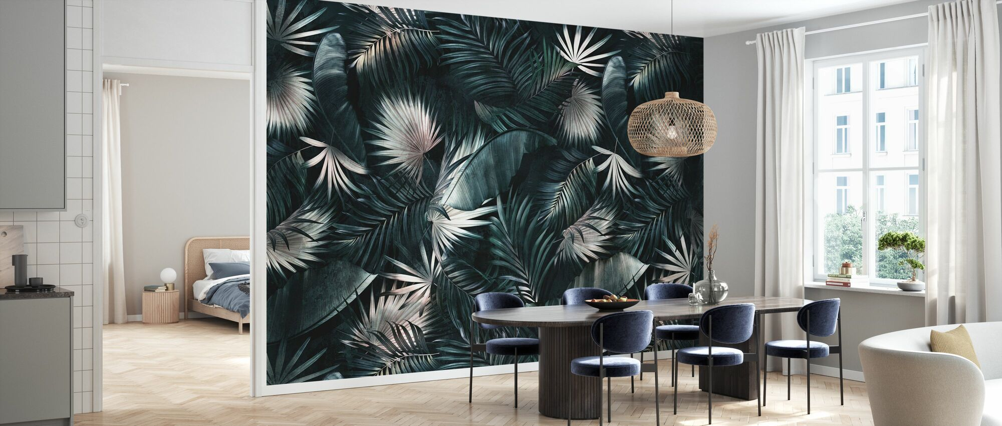 Tropical Leaves - Dark - Wallpaper - Kitchen