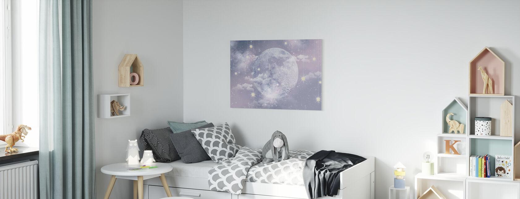 Moon with stars - Canvas print - Kids Room