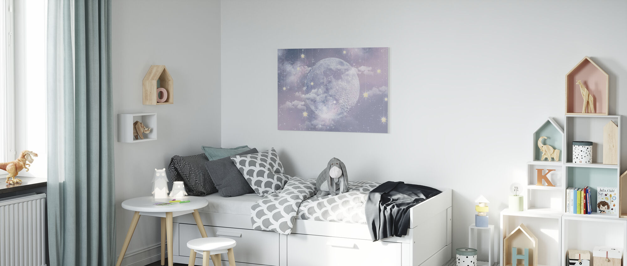 Moon with stars - Canvas print - Kids Room