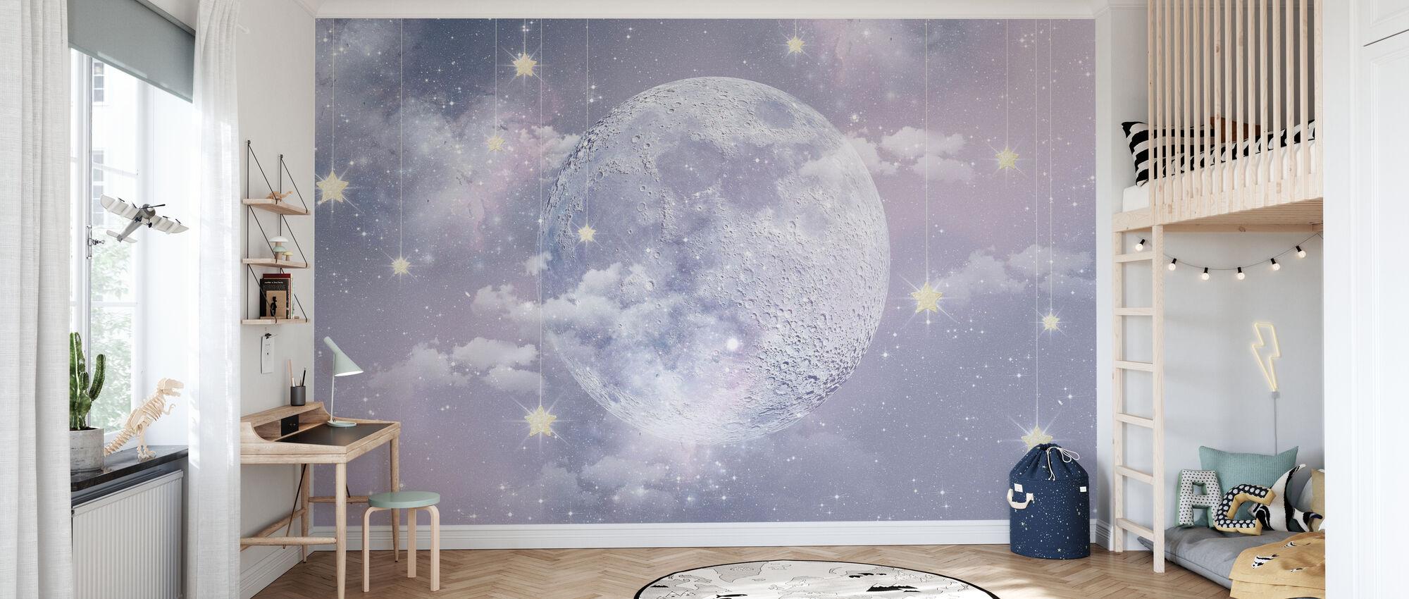 Moon with stars - Wallpaper - Kids Room