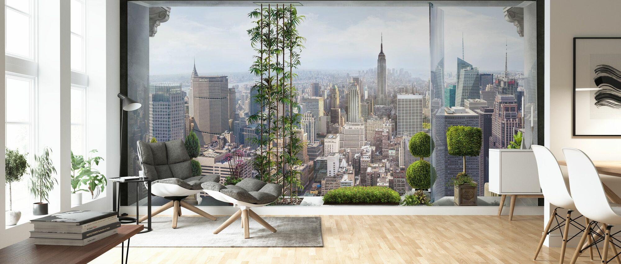 View over Manhattan - Wallpaper - Living Room