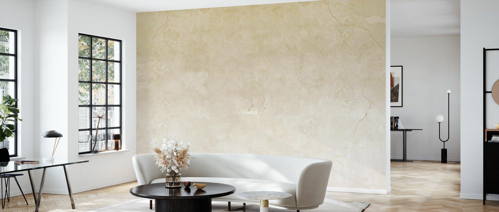 Beige gekleurde gebarsten muur - Behang - Woonkamer