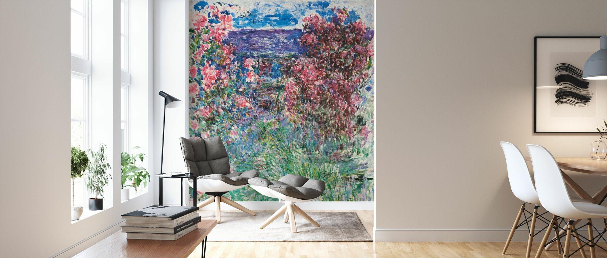Maison parmi les roses - Claude Monet - Papier peint - Salle à manger