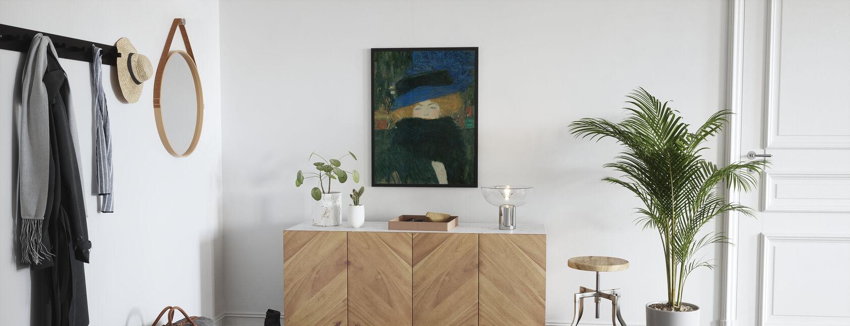 Nainen hattu ja sulka Boa - Gustav Klimt - Juliste - Aula