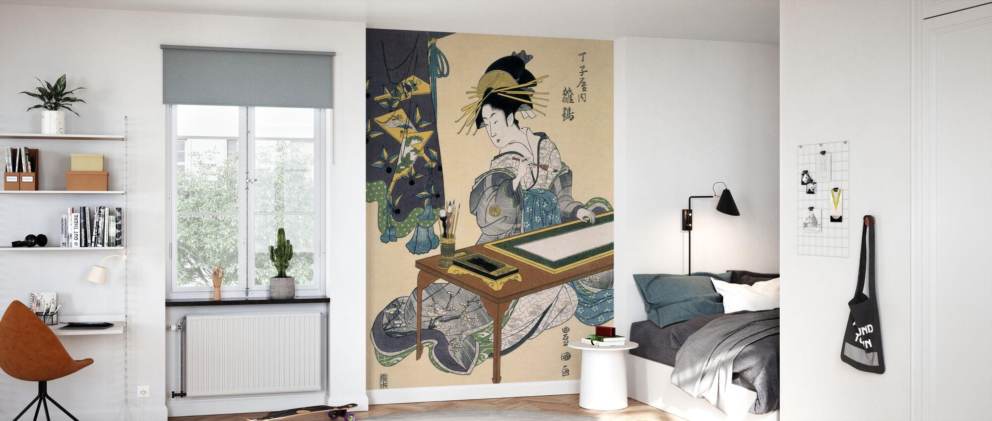 Cortesana Hinazuru - Utagawa Toyokuni - Wallpaper - Kids Room