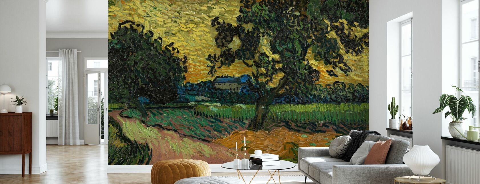 Landskap i Twilight - Vincent Van Gogh - Tapet - Stue
