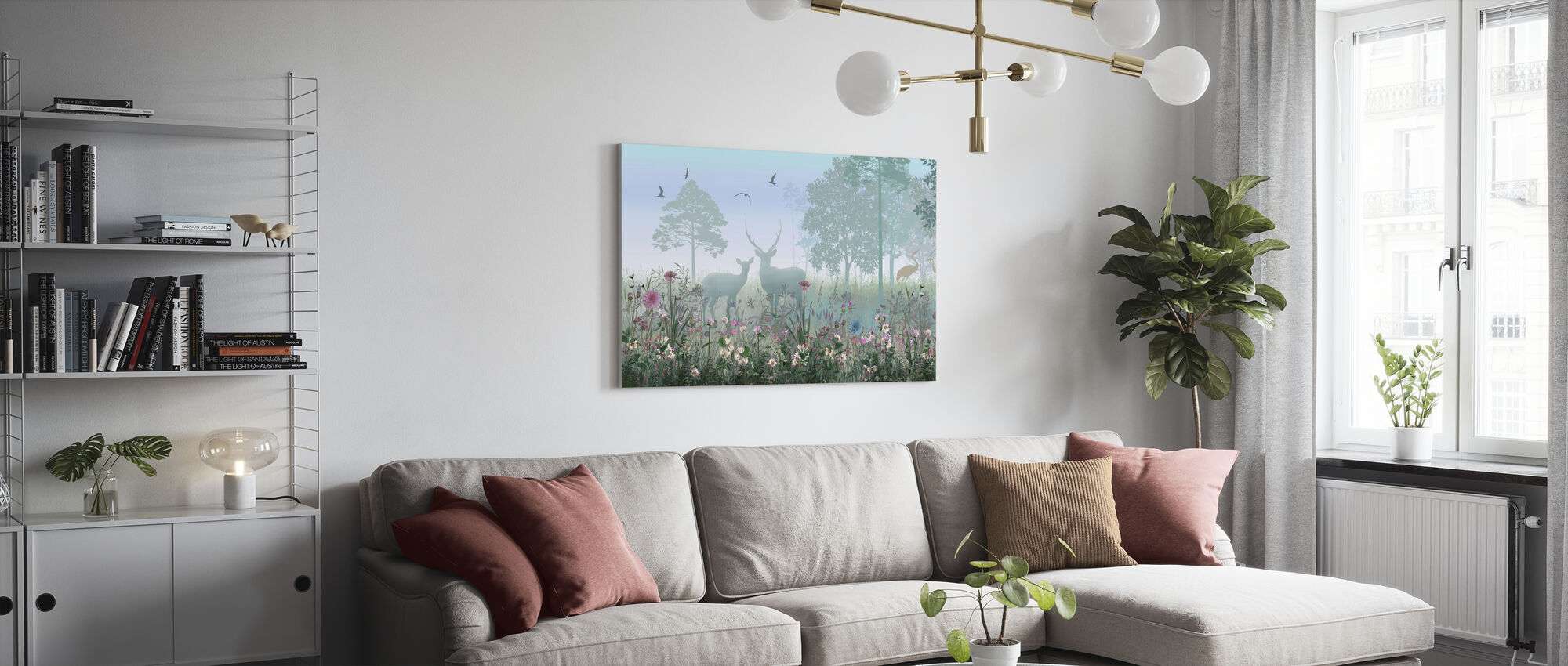 Animals in Hazy Forest - Canvas print - Living Room