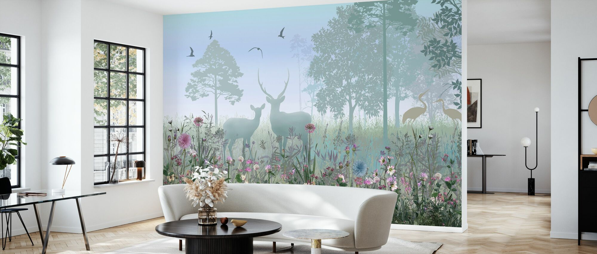 Animals in Hazy Forest - Wallpaper - Living Room