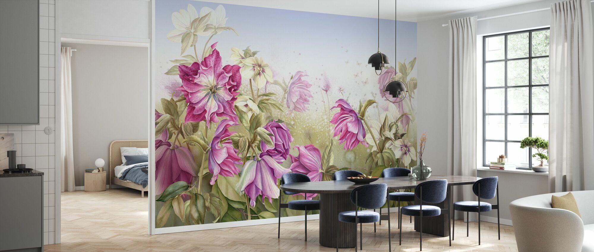 Purple Lily Flowers - Wallpaper - Kitchen