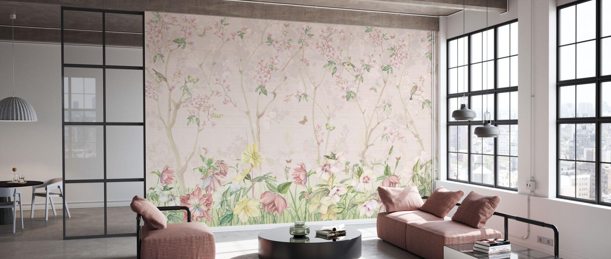 Roze weide - Behang - Kantoor