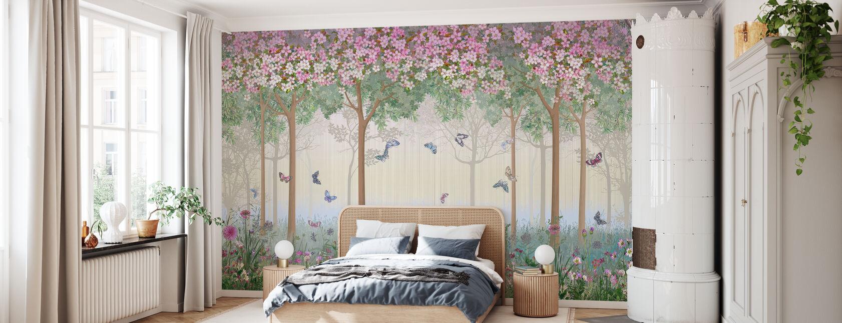 Butterflies in Hazy Meadow - Wallpaper - Bedroom