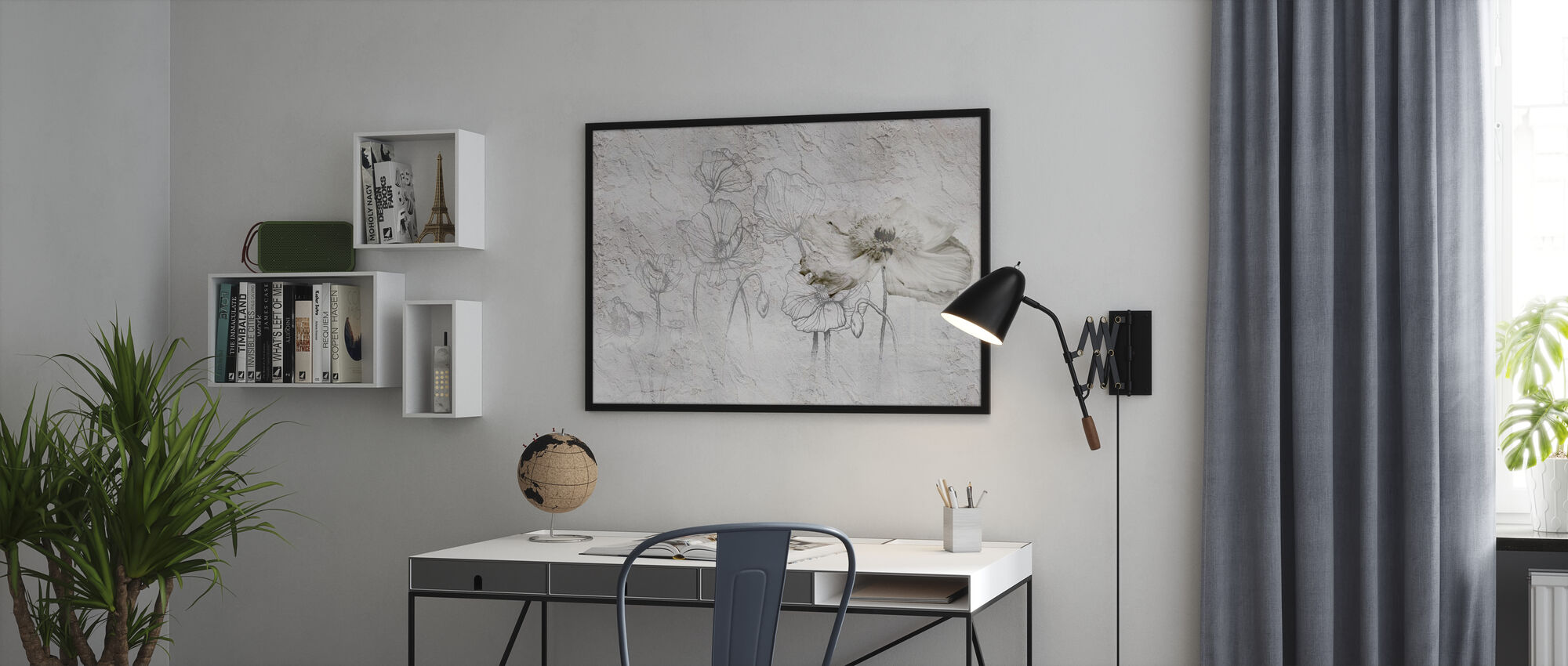 Flowers on Craking Wall - Poster - Office